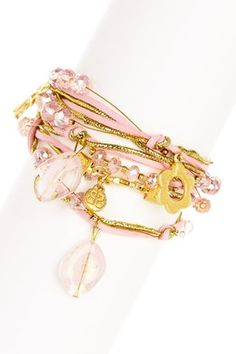 Would like to have smth like this... Pink Murano Wrap Charm Bracelet