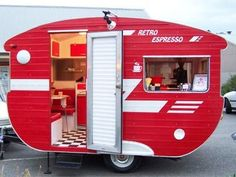 """Retro Espresso"" Red vintage caravan - ""food truck"" 