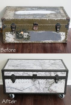 Amazing transformation!!  Military Footlocker Transformation into Toy storage trunk. Mod podge vintage maps to metal and spray paint.