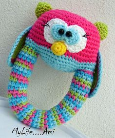 MyLife....Ami Owl Baby Rattle/Sonajero Búho by mylifeami on Etsy