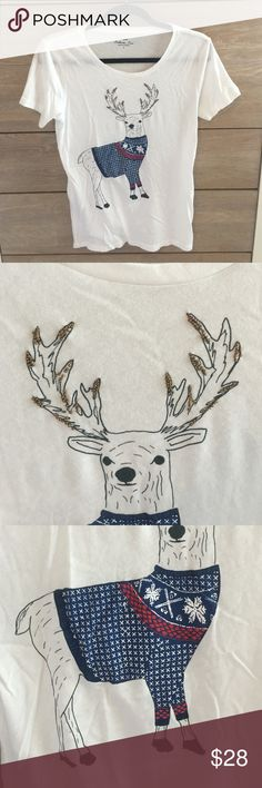 J.Crew Holiday Collector Tee - Reindeer in Sweater Super cute for the holidays! Only worn once, no signs of wear. Bronze bead detail on antlers. J. Crew Tops Tees - Short Sleeve