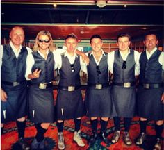 Looks like they are wearing kilts for the cabin  photos!