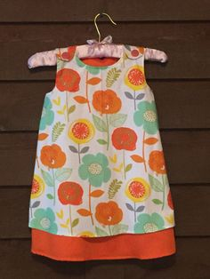 Orange Teal and Yellow Floral Girls Dress by SimplyStitchedbyMKM
