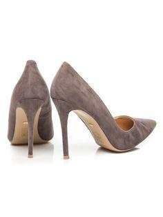 Klasické semišové tmavošedé lodičky na ihličkovom opätku Peeps, Peep Toe, Shoes, Fashion, Moda, Zapatos, Shoes Outlet, Fashion Styles, Shoe
