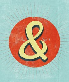 yellow hand illustrated ampersand with black drop shadow on red circle background with thin radiating lines on a light blue field