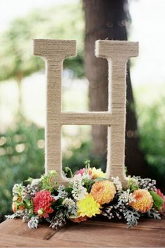 Twine wrapped initials | Brides of Adelaide