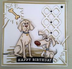 Focus on Papercraft: Crazy Dogs by Tim Holtz, a birthday card for a spe...