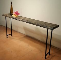 Reclaimed wood console table, sofa table, or entry table with pipe legs. Wood, Narrow Console Table, Reclaimed Wood Dining Table, Long Sofa, Reclaimed Wood Console Table, Table, Reclaimed Wood Table, Dining Room Table, Accent Table