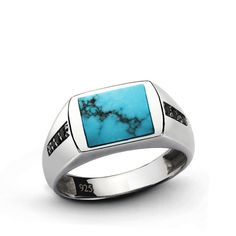 Sterling Silver Men's Ring Natural Turquoise Stone by ATAjewels