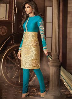 Blue and Beige Churidar