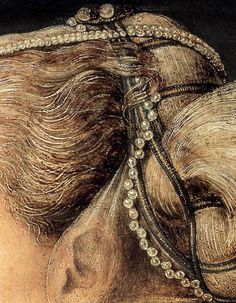 Antonio del Pollaiuolo c. 1460-1465 Portrait of a Lady (detail of the hairstyle)
