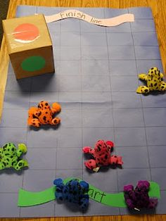 Great for the Beginning of the Year:::Jump Frog Jump Color Floor Game: take turns rolling the dice. as each child rolls the die they identify the color then find the frog that matches that color and move the frog one square ahead. See which frog wins!