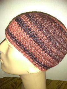 Dark blue, and coral kufi beanie skullcap crochet large by Nadeerah on Etsy
