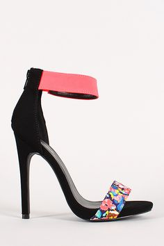 Floral Nubuck Ankle Cuff Open Toe Heel