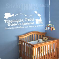 Welcome to StickyThings Wall Stickers South Africa - we offer wall stickers also known as wall decals, vinyl wall decals, wall art and even wall tattoos! Vinyl Wall Decals, Wall Stickers, Wall Tattoo, Afrikaans, Wall Quotes, Cribs, Room, Transportation, Home Decor