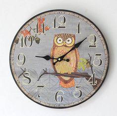 Gray Wooden Owl Wall Clock