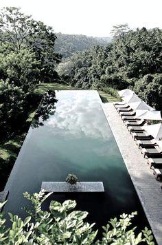 Infinity pool in Alila Ubud Hotel, Desa Melinggih Kelod, Payangan, Gianyar, Bali