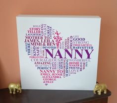 Personalised Nanny Heart gift. Unique gifts for Nanny. Unique canvas gift for Nan. Gifts from the grandkids.