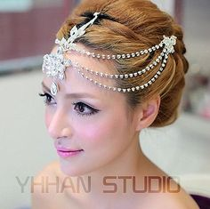 New 2015 Free Shipping Czech Crystal Frontlet Tiara Bridal Hair Accessories Hair Jewelry Wedding Jewelry Wedding Accessories www.bernysjewels.com #bernysjewels #jewels #jewelry #nice #bags
