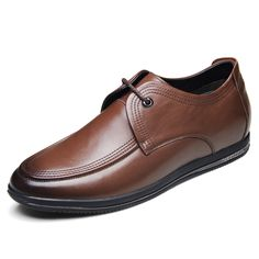 Fashion lace up elevated casual shoes 6cm / 2.36inch brown calfskin taller shoes