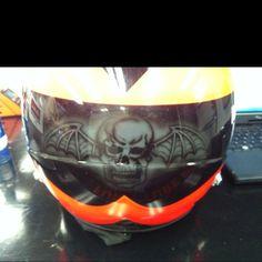 A7X Death bat in NASCAR Drivers helmet! Awesome!