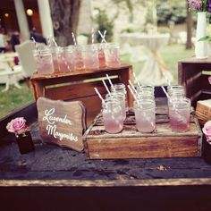 20 Wedding Traditions You Can Skip - Wedding Ceremony Traditions - Punch, water, tea, etc. available before wedding Signature Cocktail, Shabby Chic Wedding Decor, Rustic Wedding, Deco Table, A Table, Drink Table, Wedding Ideias, Recycle Your Wedding, Rose Fuchsia