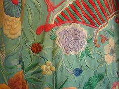 Antique Hand Embroidered Silk Piano Shawl Manton de Manila Chinese Figural C1900 | eBay