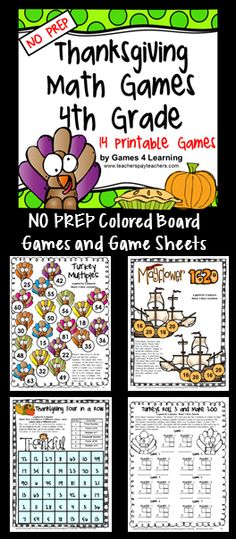 Thanksgiving Math Games 4th Grade - NO PREP board games and print and play math game sheets. $