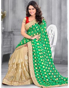 Fascinating Beige and Green #Saree