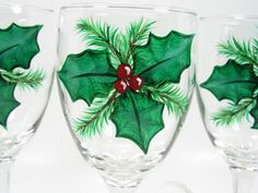 Hand Painted Christmas Holly Wine Glasses