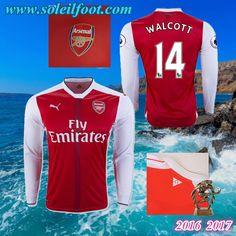 Maillot Du Arsenal Manche Longue (WALCOTT 14) Domicile 2016-2017 Pas Cheres