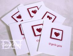 "Simple card idea using the Stampin' Up! postage stamp punch, 1"" square punch, and a heart punch."