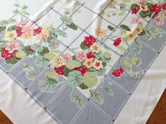 Vintage Printed Tablecloth, Gray Red White Nasturtium  Flowers, 1950's Mid Century Kitchen
