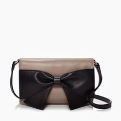 "HPKate Spade Hanover Street Aster bow bag Kate Spade Hanover street aster cross body bag. 4.5""x7.5"" with 20"" drop length. Material is cowhide. 14k gold hardware. Magnetic flap closure with interior side pocket. Small mark inside bag as shown in photo. kate spade Bags Crossbody Bags"