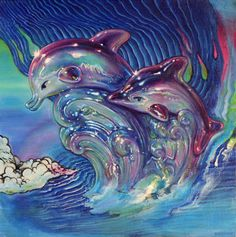 Allan Innman, Dolphin Crest, oil on canvas mounted to panel, x in, 2015 Dolphins, Oil On Canvas, Fish, Sea, Artist, Angels, Paintings, Paint, Painted Canvas