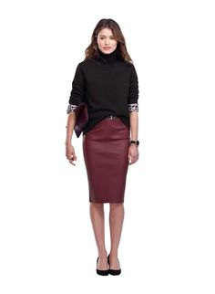 Monmouth Leather Pencil Skirt