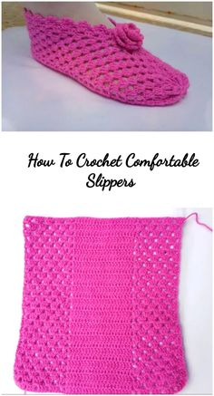 How To Crochet Comfortable Slippers - We Love Crochet Easy Crochet Slippers, Crochet Socks, Love Crochet, Knit Crochet, Felted Slippers, Crochet Granny, Crochet Slipper Pattern, Crochet Patterns, Knitting Patterns