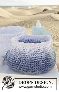 "Fishbowl - Crochet DROPS basket in 3 threads ""Muskat"". - Free pattern by DROPS Design"