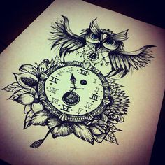 Owl clock flowers design tattoo art