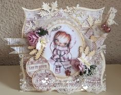 Hilde's cards: Ppinkydolls - kerst - Cold Xmas Days Christmas Cards, Xmas, Shaped Cards, Cold, Shapes, Frame, Card Ideas, Projects, Handmade