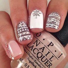 23 Latest Winter-Inspired Nail Art Ideas: #16. CUTE WINTER PATTERN NAIL DESIGN; #nailart; #naildesigns