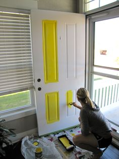 how to paint a front door - yellow front door