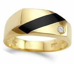 Men's Onyx Ring CZ 14k Yellow Gold Pinky Band Cubic Zirconia (14 CTW) http://mensjewelryandaccessories.blogspot.com/ #Sterling_Silver, #Titanium, #Diamond, #jewellers #Mens_Jewelry #Mens_Rings #Mens_Bracelets #Black_Onyx