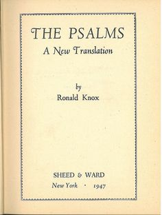 Knox Psalms Title, Bible In My Language