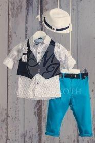 08ffc369cb7 Βαπτιστικά ρούχα για αγόρι της Angel Wings μοντέρνο σετ πουκάμισο με  ψαράκια, μπλε γιλέκο και
