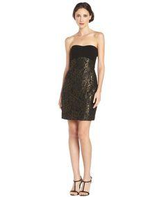 Diane Von Furstenberg black and gold 'Garland' floral lace strapless dress