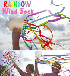 Make a fun rainbow windsock craft! Great for outside play and for inspiring physical movement and self expression. A fun rainbow kids craft for all ages. #kidscraftroom #rainbows #windsocks #sensoryplay #sensory #sensoryactivities #playideas #rainbowcrafts #preschool