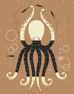 Fun illustration /// Dancing Octopus Art Print, Mid Century Modern, Childrens Decor