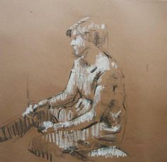james bland_Figure Study, Seated charcoal and oil pastel on brown paper Brown Paper, Artist Painting, Contemporary Artists, Charcoal, Pastel, Study, Paintings, Oil, Cake