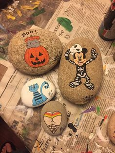 Mickey Mouse Halloween painted rocks